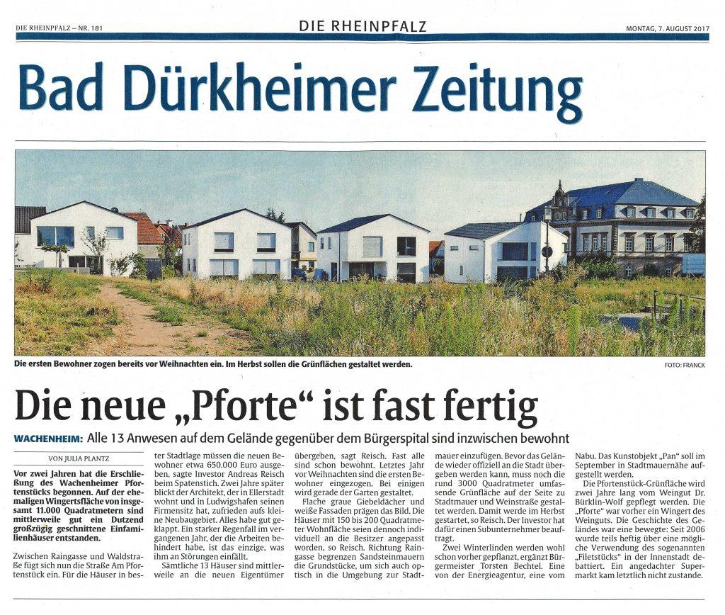Reisch Gruppe Presse Rheinpfalz über das Pfortenstück Wachenheim