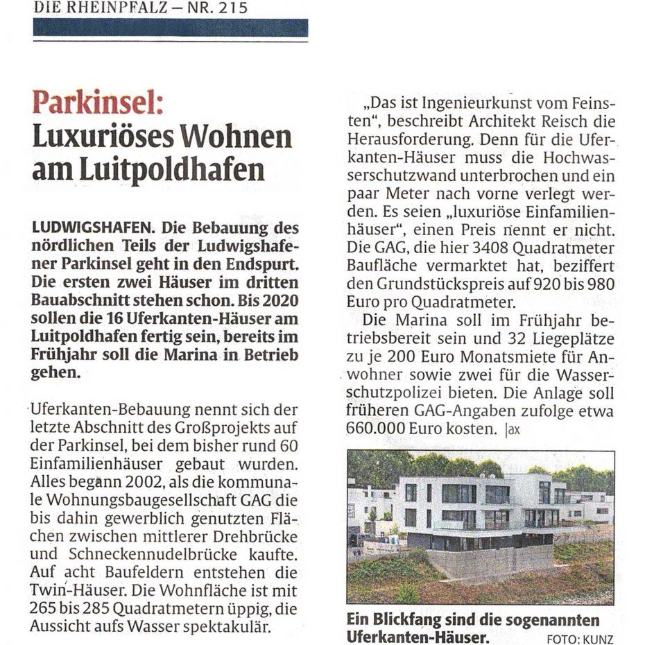 Reisch Gruppe Presse 20180914 Frankenthaler Zeitung Uferkante Luitpoldhafen Ludwigshafen 03