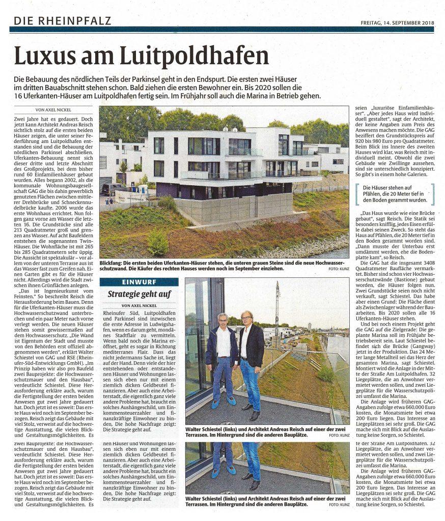 Reisch Gruppe Presse 20180914 Rheinpfalz Uferkante Ludwigshafen
